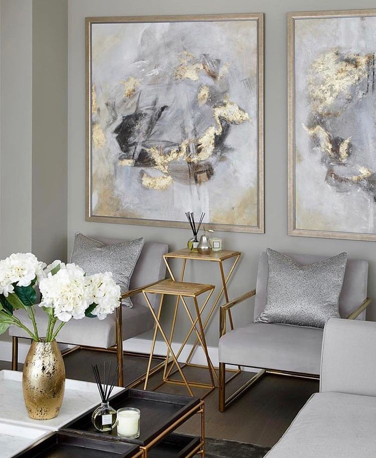 Living room with silver tones