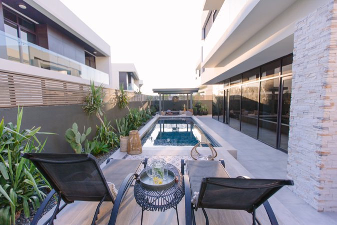 Damac Hills stylish garden with pool