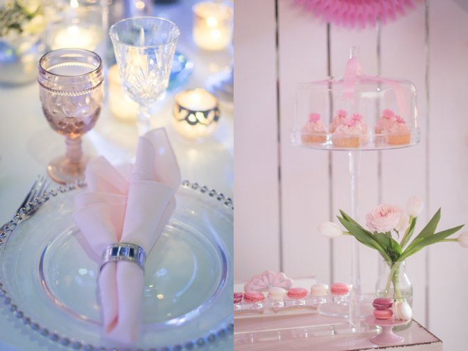 Close up details of princess themed birthday party