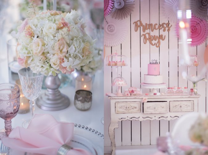 Pink and white 1st birthday party decor