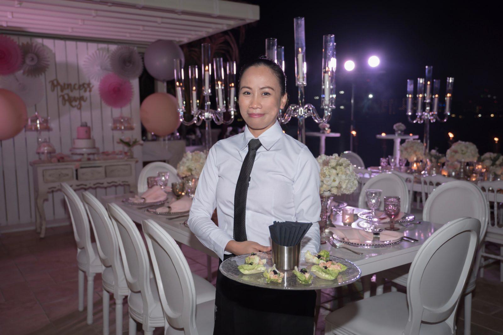 Waitress with canapés