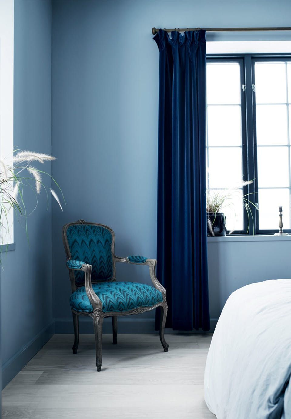 Lux blue velvet curtains