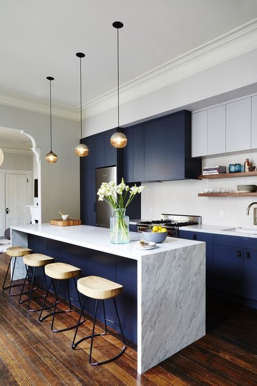 Blue and marble kitchen