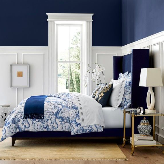 Classic blue and white bedroom decor