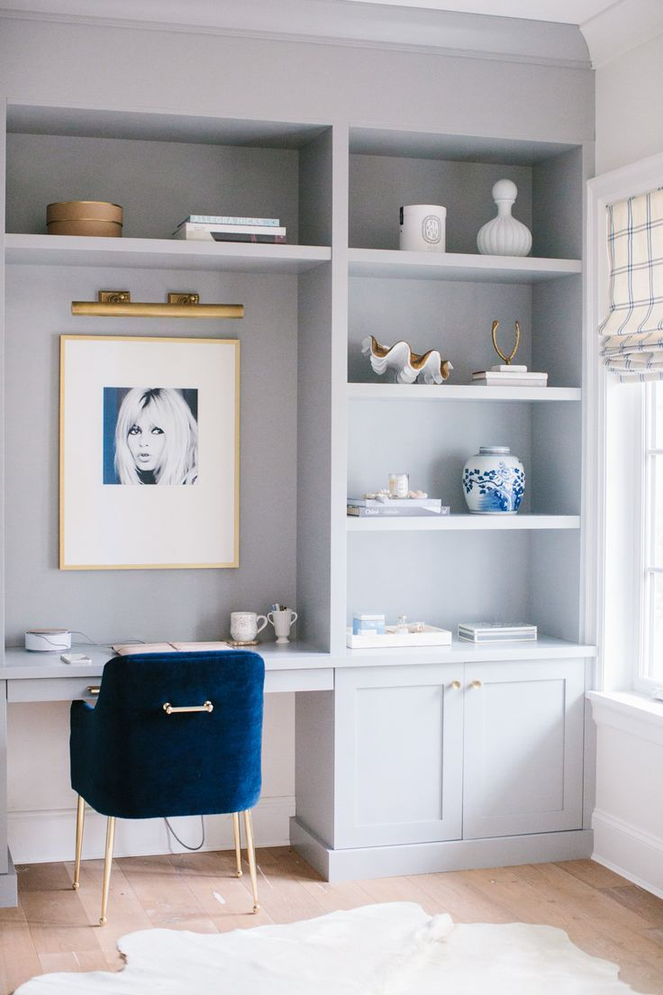 Stylish blue and cream home office
