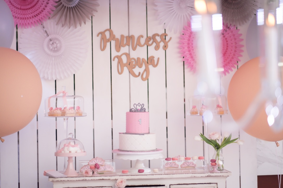 Princess birthday party decor with gold signage