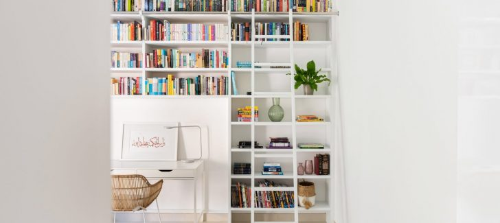 A close up of a book shelf